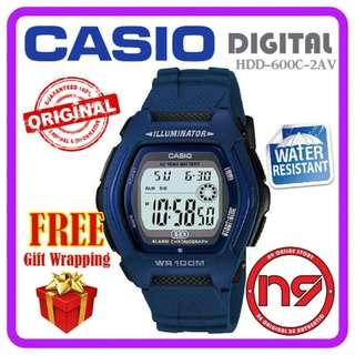 CASIO HDD-600C-2AV DIGITAL MEN WATCHES RESIN STRAP SPORTS WATCH JAM ORIGINAL