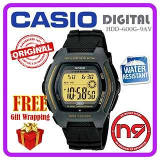 CASIO HDD-600G-9AV DIGITAL MEN WATCHES RESIN STRAP SPORTS WATCH JAM ORIGINAL