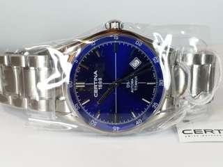 Certina~雪鐵納,機械自動, 彩藍色靚錶面, 連冠的約42mm, NOS (new old stock)  有紙,有盒,有吊牌, 適合完美主義追求人士。ref: 14569