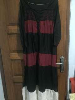 Dress Katun - Hitam Putih Merah