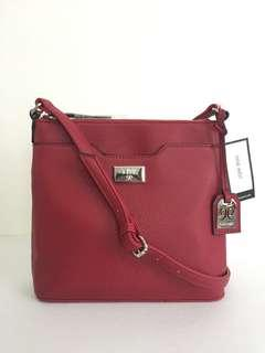 New! Nine West Time To Lock Ruby Red Crossbody Bag