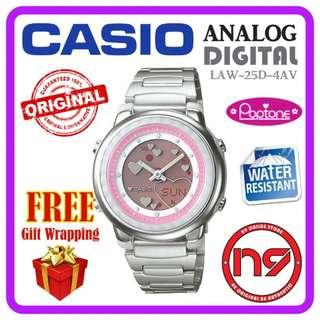 CASIO LAW-25D-4AV ANALOG DIGITAL WOMEN LADIES WATCH POPTONE PINK WATCHES JAM