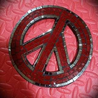 Peace sign mosaic ornament