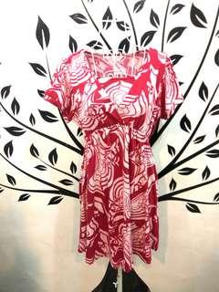 Red Prints Short Sleeve Dress