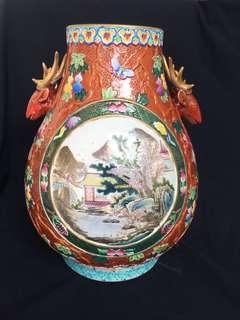 Qing era Qianlong seal mark enamel painted landscape artwork with deer  hooks 43cm x30 cm wide at offer price