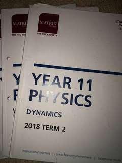 MATRIX Y11 Physics workbook Term 2-4