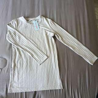 Uniqlo GU ribbed grey tshirt long sleeves lengan panjang