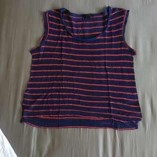 Tshirt kaus Forever21 stripe blue red