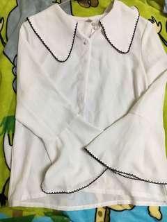 🚚 雪紡 喇叭袖襯衫