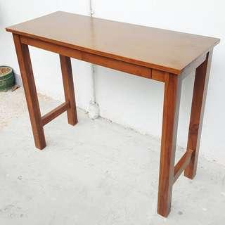 SOLID TEAK SLIM CONSOLE TABLE WITH 2 DRAWERS