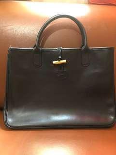 Vintage Longchamp Roseau Leather Tote (Black)
