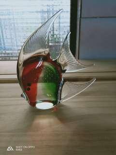 🚚 玻璃藝術品 神仙魚 長14 高 16 完美品