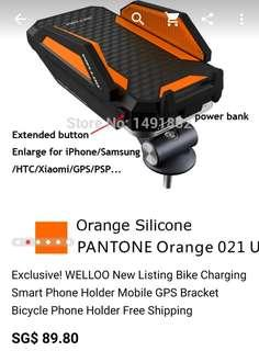 2🔥Welloo Bike Mount Holder with 6000mah Power Bank Shockproof for Iphone/samsung