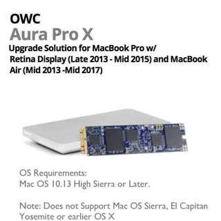 "OWC Aura Pro X 240GB SSD for Late 2013 to 2015 MacBookPro 13"" & 15"" Retina & MacBook Air Mid-2013-Mid 2017"
