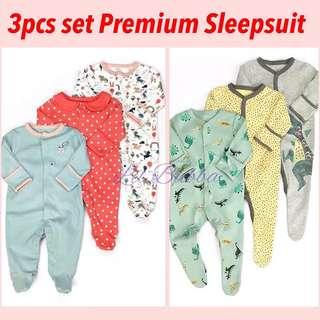 [SG Ready Stock] 3pcs All-in-one baby sleepsuit with mittens and socks