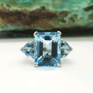 Blue Topaz Trilogy Ring, Size N, Sterling Silver, Statement Ring