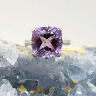 Amethyst Solitaire Ring, Square Shaped, Sterling Silver, Size 7