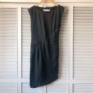 Zara Womens Black Dress with Zipper Detail