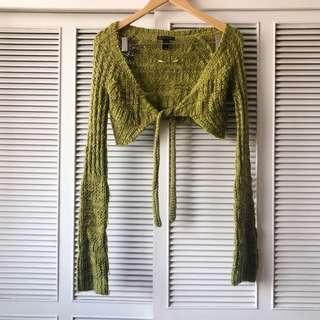 Mango Green Cropped Knitted Outerwear