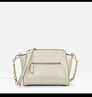 [PRICE REDUCED] Charles & Keith Trapeze Crossbody Bag in Gold