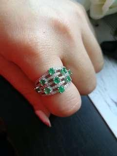 🚚 $258 Fixed Sales Unheated Natural Emerald 925 Silver White Gold Plated Ring