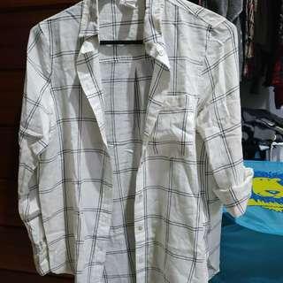 H&M HNM Boyfriend shirt kemeja kotak tartan