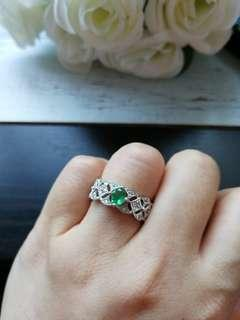 🚚 $158 Fixed Sales Unheated Natural Emerald 925 Silver White Gold Plated Ring