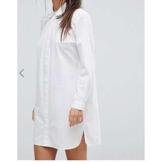 ASOS DESIGN Petite cotton mini shirt dress 恤衫裙