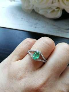 🚚 $188 Fixed Sales Unheated Natural Emerald 925 Silver White Gold Plated Ring