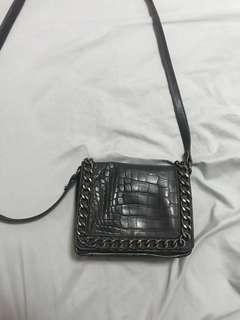 Steve Madden Black Leather Sling Bag