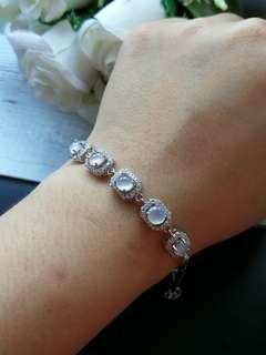 🚚 $168 Fixed Sales Type A Grade A Natural Jadeite Jade Fei Cui 925 Silver White Gold Plated Bracelet