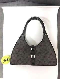 Gucci正版黑色手袋Authentic Black GG Canvas Jackie 002-1067 Shoulder Bag real Handbag