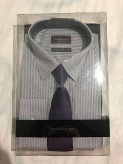 RESERVE - grey button up with tie - Medium size 42