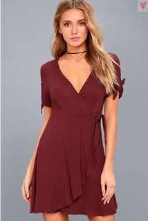 Lulu's Maroon Wrap Dress