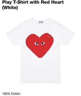 7e535fc86a22 Comme Des Garcons Play CDG Red Heart T Shirt