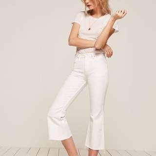 Reformation flared white jeans