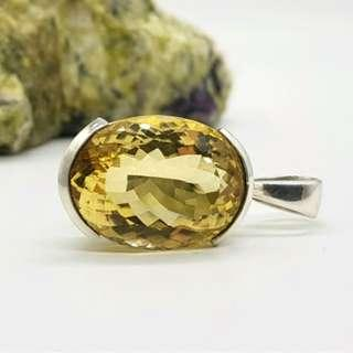 Citrine Pendant, 925 Sterling Silver, Oval, Success Gemstone, NEW