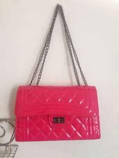 PINK Chain Bag Quilted&Coated