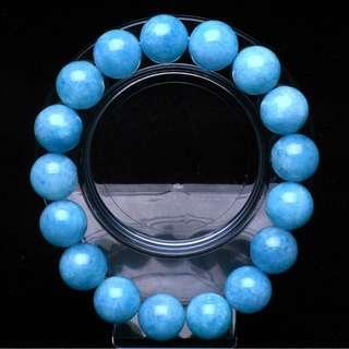 Blue Aquamarine Crystal Bracelet 12mm