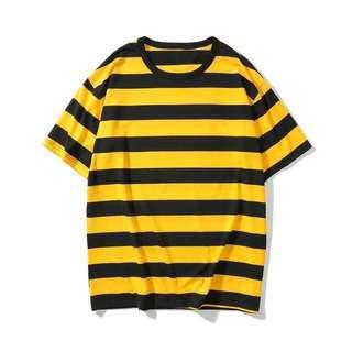 🚚 Black and Yellow Oversized Striped Tee