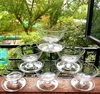 Unusual Vintage Champagne Glassess with hand-cut geometric pattern and up-turn foot. Unused; Good Condition. 6pcs for $20 offer! WhatsApp 96337309.