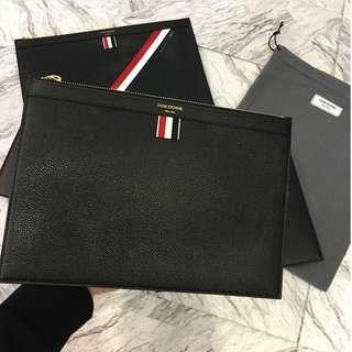THOM BROWNE - leather clutch/ medium document holder (Black)