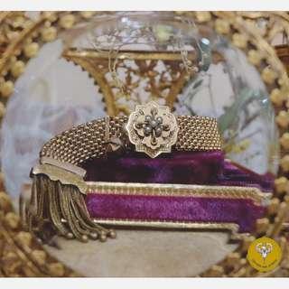 古董維多利亞古典刻花籽珠包金手鍊