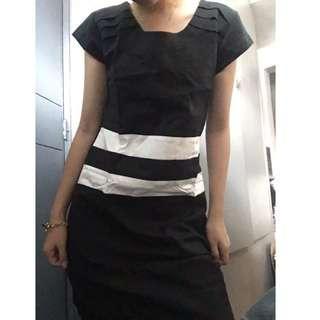 Black with White Stripes Semi-formal Dress