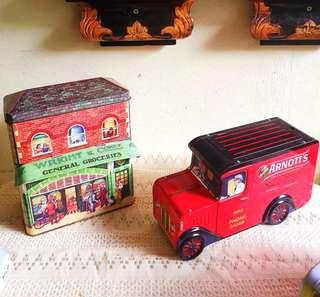 Cute Collectable Tins, Candy or Biscuit tins or Coinbank designed like a sweet shop, delivery can or bus. Good condition, only POSB squirrel coinbank lost hind wheels. All 6 items for $35 offer!  WhatsApp 96337309.
