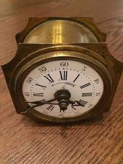 1880年黃銅旅行用上鏈鬧鐘 品牌巴黎E & S 法國製造