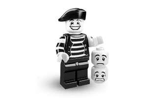 🚚 Lego Series 2 Minifigure - Mime (new, repacked in ziploc)