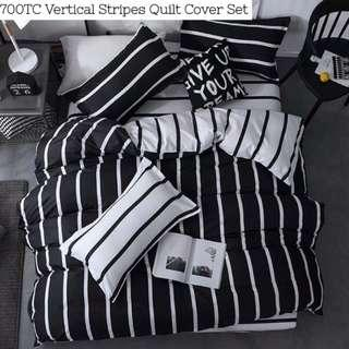 Black White  Striped Fitted Bedsheet Set with Quilt Cover