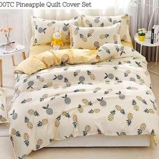 Pineapple Ong Lai Soft Fitted Bedsheet Set with Quilt Cover