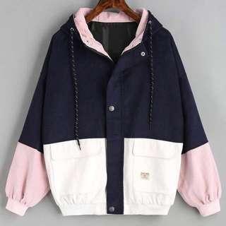 [PO] hooded colour block corduroy jacket